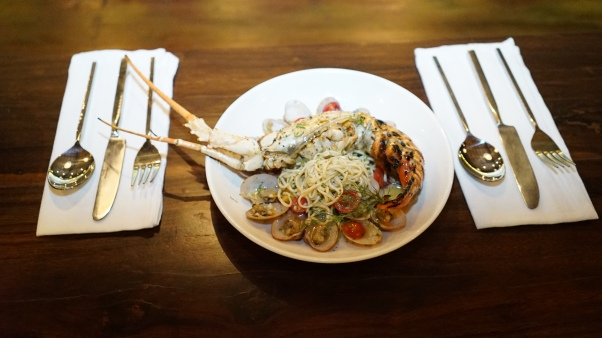 Clam linguini, white wine sauce, charcoal lobster.JPG